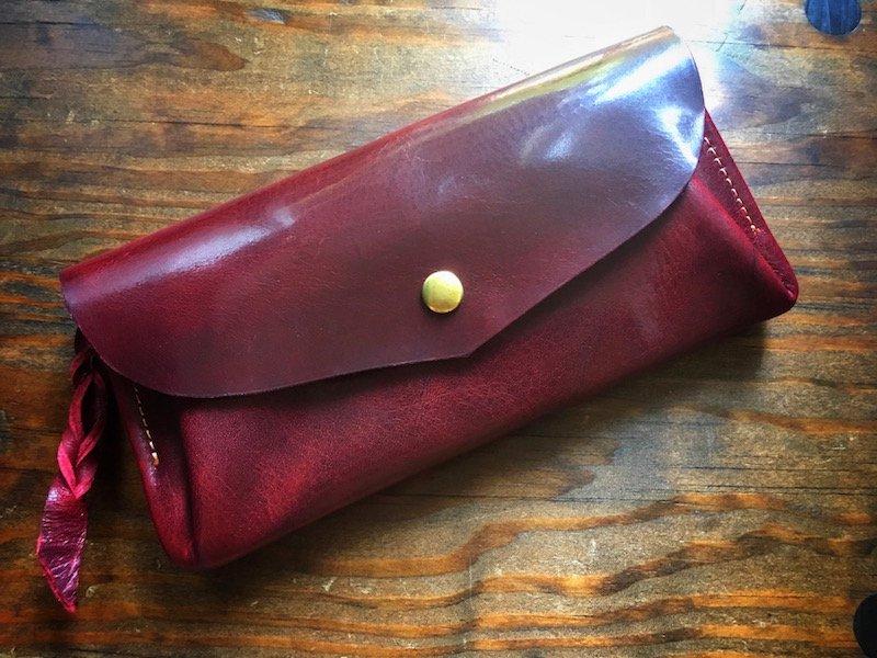 【受注製作(納期約2週間)】国産オイルレザー*カード12枚長財布 「series-envelope」(ダークチェリー)