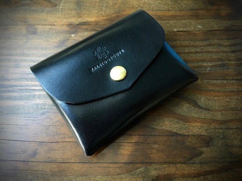 【納期約2週間】栃木レザー*コンパクト財布「series-envelope」ブラック
