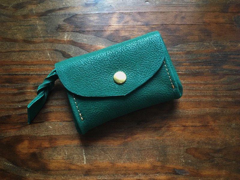 【納期約3週間】お札を折らない!ミニマル財布「envelope」(ボトルグリーン)