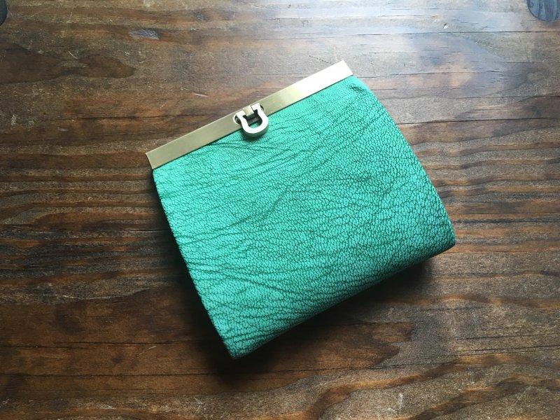 【数量限定】【受注製作(納期約1ヶ月)】二つ折り財布『avanico-harf』フローズンミント×ターコイズ