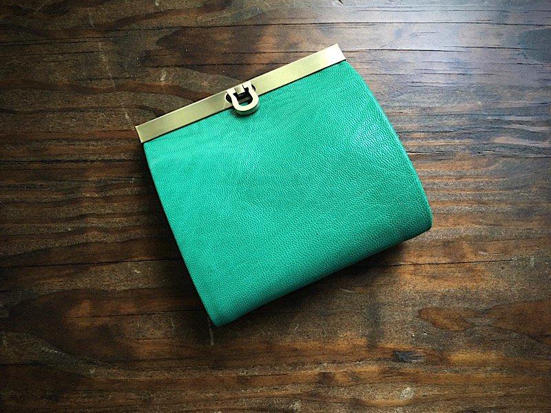 【受注製作(納期約1ヶ月)】二つ折り財布『avarico-harf』エメラルドグリーン×ターコイズ