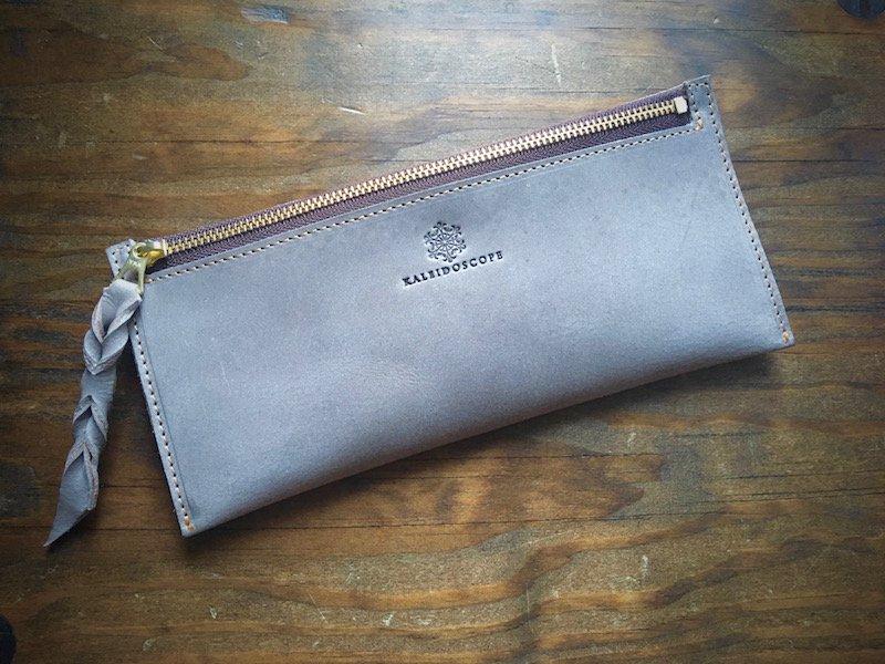 【納期2週間】JAPANレザー*カード6枚収納長財布『smart』ストーングレー