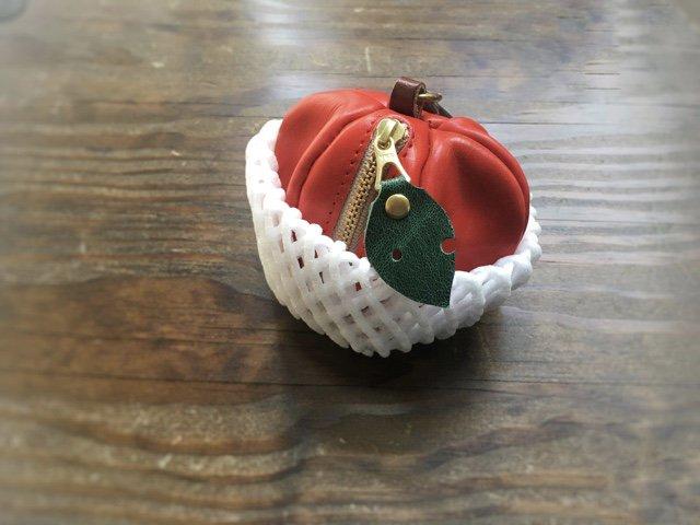 【受注製作(納期約1週間)】ヌメ革ミニポーチ「pomme」紅玉
