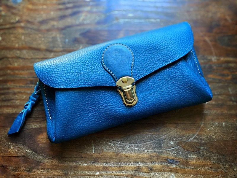 【受注製作(納期約2週間)】イタリアンレザー*長財布 「series-envelope」(フェルメールブルー)