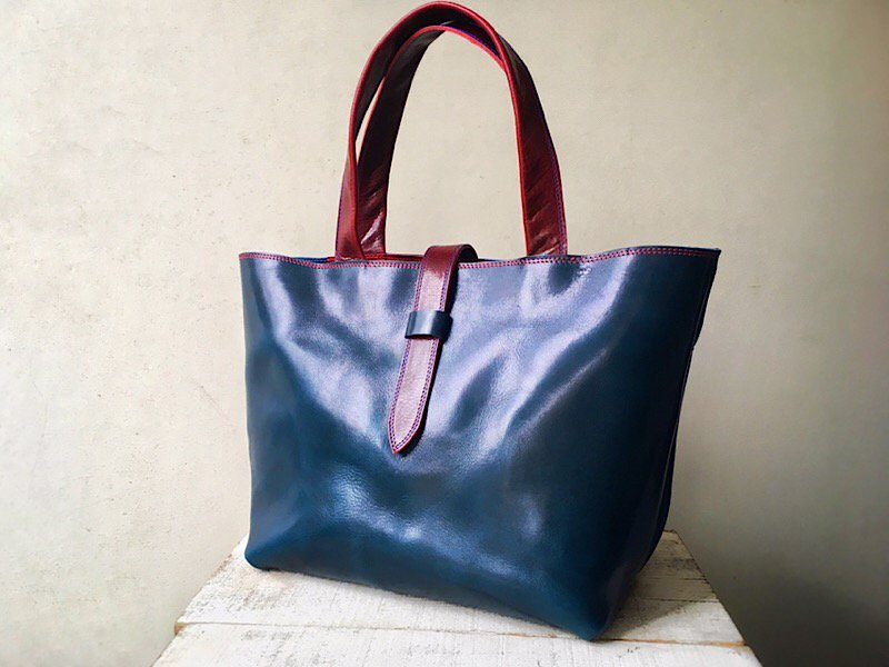 【納期約1〜2ヶ月】一枚革で作る◆国産オイルヌメ革のバイカラートートバッグ
