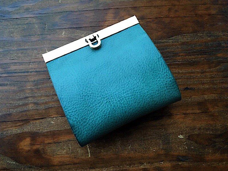 【受注製作(納期約1ヶ月)】二つ折り財布『avanico-harf』ターコイズ×イエロー