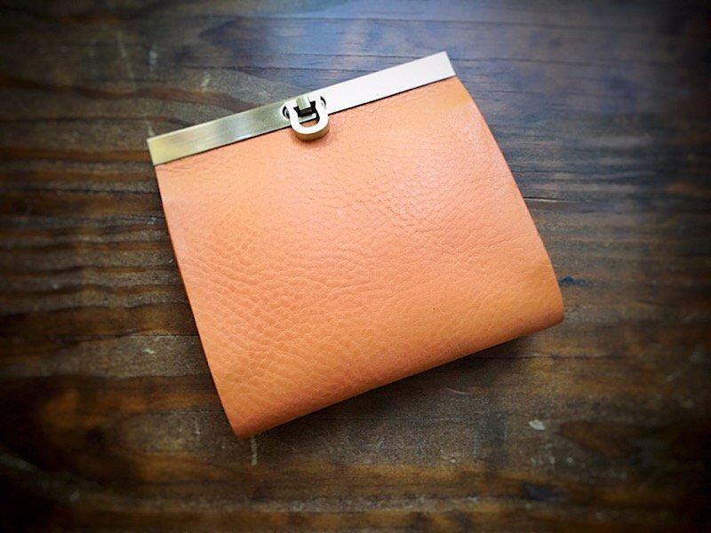 【受注製作(納期約1ヶ月)】二つ折り財布『avanico-harf』ナチュラルベージュ×ライトブラウン