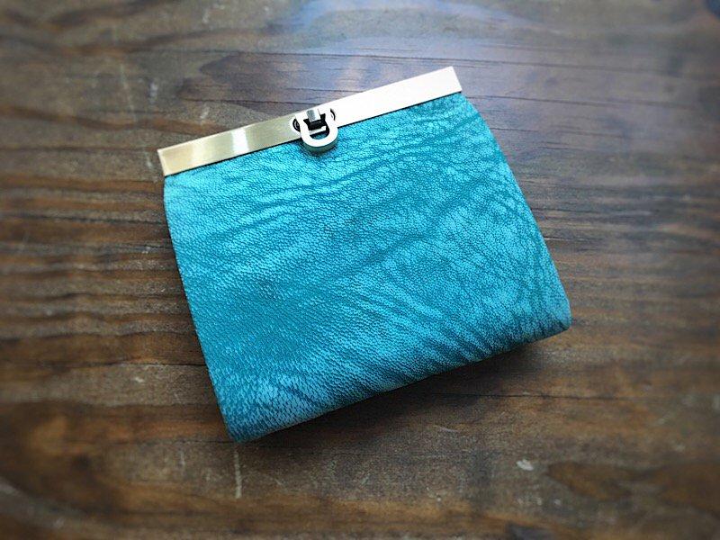 【数量限定】【受注製作(納期約1ヶ月)】二つ折り財布『avanico-harf』フローズンブルー×ラベンダー