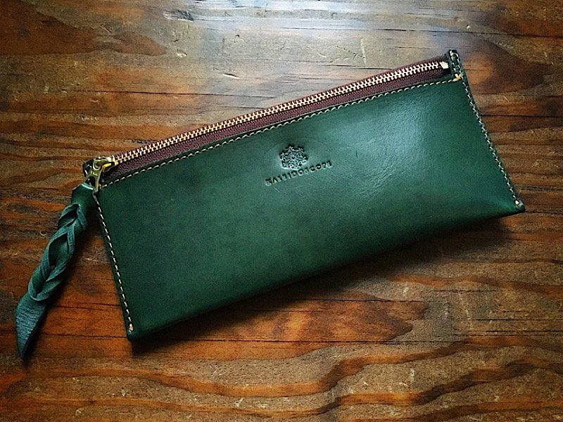 【納期1週間】国産ヌメ革『ロロマ』使用*カード6枚収納長財布『smart』ボトルグリーン