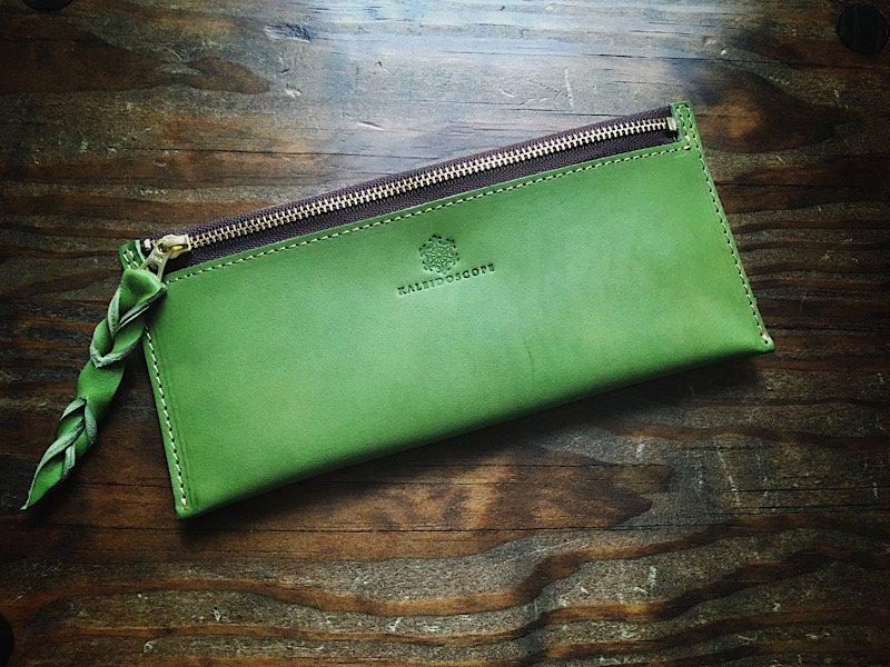 【受注製作(納期約1ヶ月)】イタリアンレザー*カード6枚収納長財布『smart』リーフグリーン