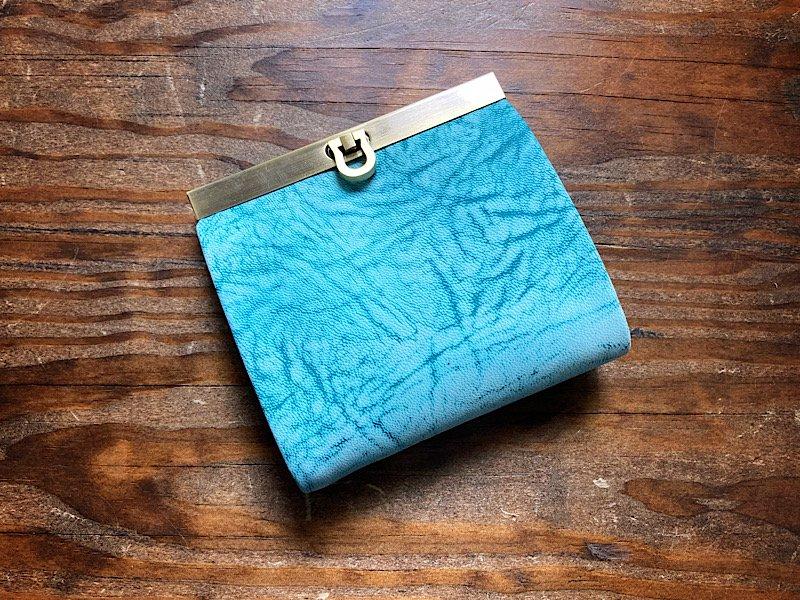 【受注製作(納期約1ヶ月)】二つ折り財布『avanico-harf』フローズンブルー×ディープターコイズ