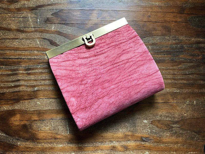 【数量限定】【受注製作(納期約1ヶ月)】二つ折り財布『avanico-harf』フローズンベリー×ボルドー