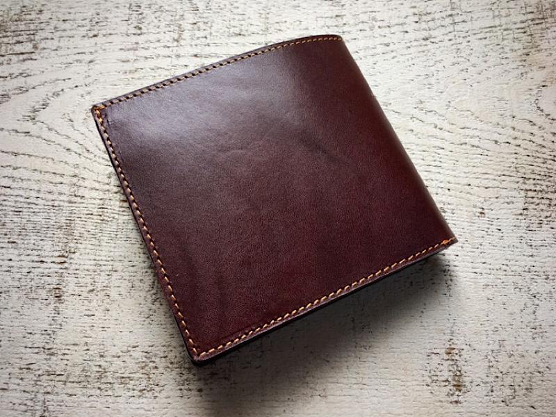 【受注製作(納期約1ヶ月半)】栃木レザーの二つ折財布(ビターブラウン)
