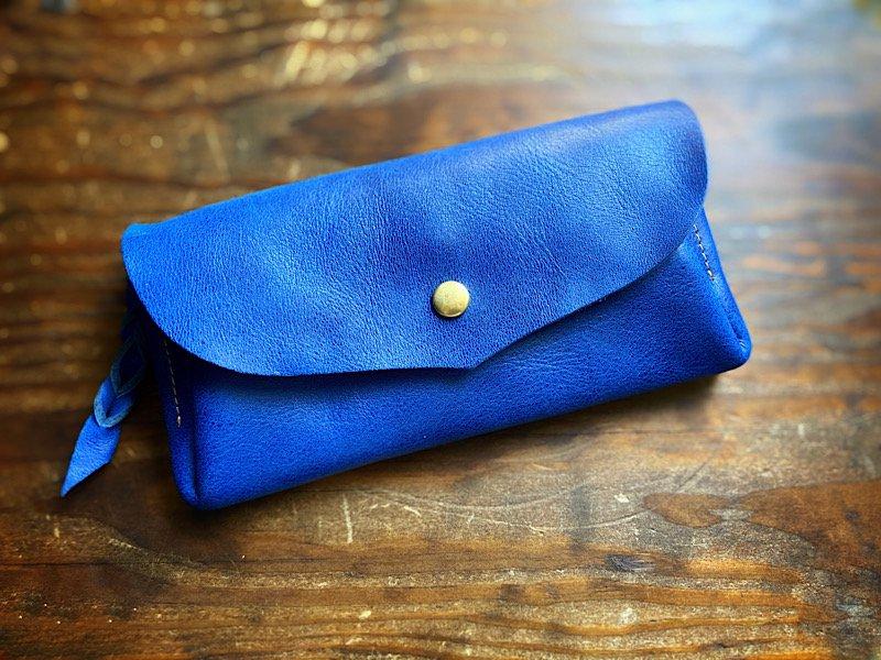 【受注製作(納期約1ヶ月)】国産オイルレザー*カード12枚長財布 「series-envelope」マリンブルー(瑠璃色)