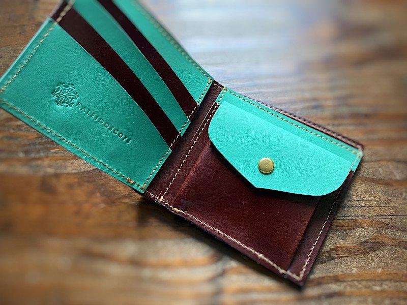 【受注製作(納期約1ヶ月)】国産ヌメ革の二つ折財布(チョコミント)
