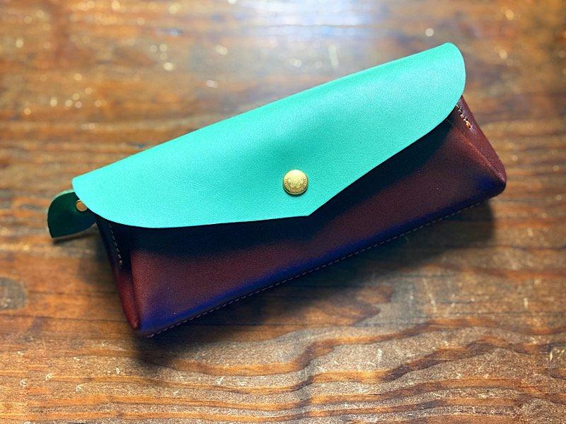 【受注製作(納期約2週間)】カード12枚長財布 「series-envelope」チョコミント