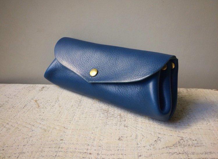 【Nさまオーダー受注製作(納期約1ヶ月)】イタリアンレザー*コロコロ長財布 「fave」L(フェルメールブルー)