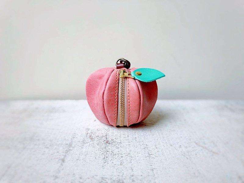 【受注製作(納期約1週間)】ヌメ革ミニポーチ「pomme」ピンクの林檎