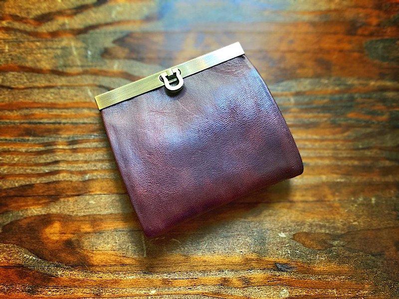 【C様オーダー◆受注製作(納期約1ヶ月)】チョコミントカラー◆二つ折り財布『avanico-harf』ビターブラウン×ターコイズ(内側をストライプで)