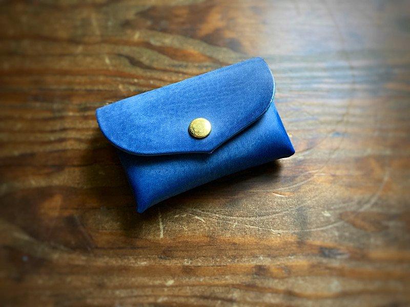 【受注製作(納期約10日)】国産Waxヌメ革『革の宝石ロロマ』大容量カードケース「series-envelope」マリンブルー