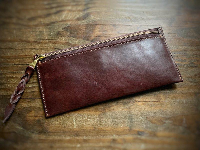 【受注製作(納期約1週間)】国産馬ヌメ革使用*カード6枚収納長財布『smart』ビターブラウン
