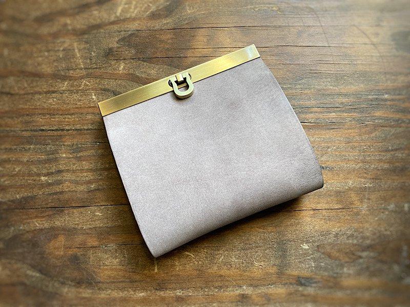 【受注製作(納期約1ヶ月)】二つ折り財布『avanico-harf』ストーングレー×グレー・ラベンダーストライプ