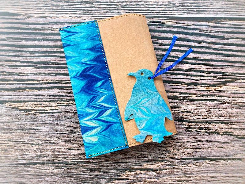 【一点モノ!】エイジングが楽しめる、国産吟スリヌメ革×マーブル染め革のブックカバー◆しおり付き(No.117)