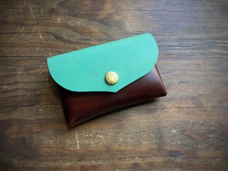 【受注製作(納期約10日)】国産ヌメ革◆大容量カードケース「series-envelope」チョコミント