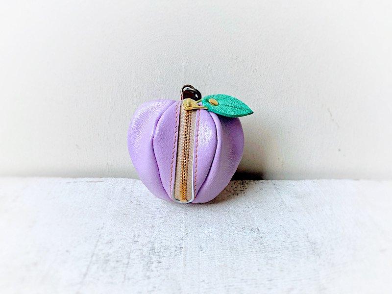 【受注製作(納期約1週間)】山羊ヌメ革ミニポーチ「pomme」 ラベンダー色のりんご