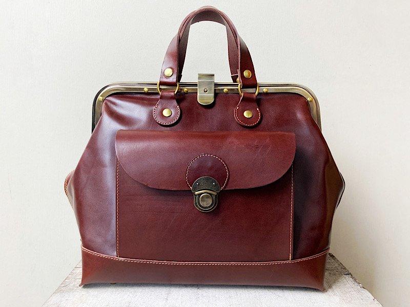 【受注製作(納期1.5~2か月)】かぶせがまぐちのドクターズバッグ「storia」L