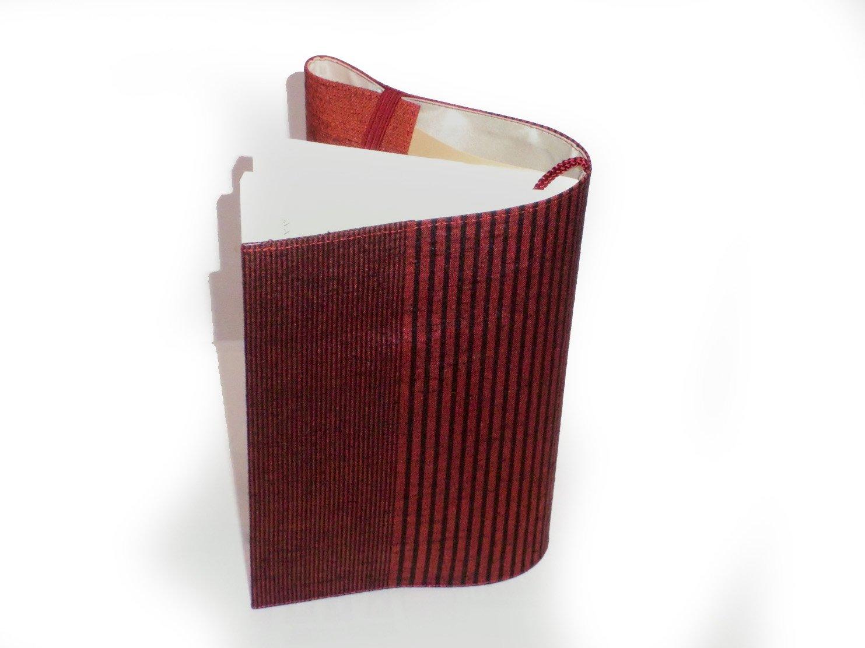 本の着物_赤い紬のブックカバー_文庫本_父の日