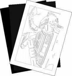 DMC DMC12 デロリアンの切り絵用【型紙】と切り絵用紙2枚のセット