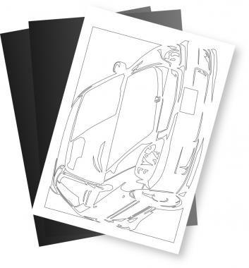 ホンダ(HONDA) シビック Type R EK9の切り絵用【型紙】と切り絵用紙2枚のセット[CK-118]