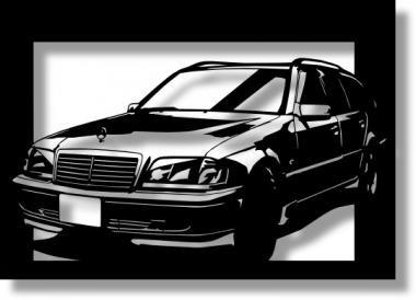 メルセデス・ベンツ(MERCEDES) C280 ワゴンの切り絵 【A4サイズ】[C4-119]