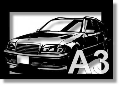 メルセデス・ベンツ(MERCEDES) C280 ワゴンの切り絵 【A3サイズ】[C3-119]