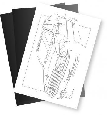 メルセデス・ベンツ(MERCEDES) C280 ワゴンの切り絵用【型紙】と切り絵用紙2枚のセット[CK-119]