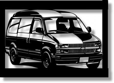 シボレー(Chevrolet) アストロ97ハイルーフの切り絵 【A4サイズ】[C4-120]