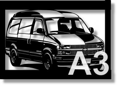 シボレー(Chevrolet) アストロ97ハイルーフの切り絵 【A3サイズ】[C3-120]