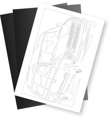 シボレー(Chevrolet) アストロ97ハイルーフの切り絵用【型紙】と切り絵用紙2枚のセット[CK-120]