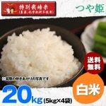 白米20キロ令和2年度宮城県産・つや姫|特別栽培米(農薬、化学肥料不使用)