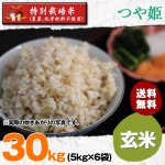 玄米30キロ令和2年度宮城県産・つや姫|特別栽培米(農薬、化学肥料不使用)