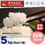 無洗米5キロ令和2年度宮城県産・ササニシキ|特別栽培米(農薬、化学肥料不使用)