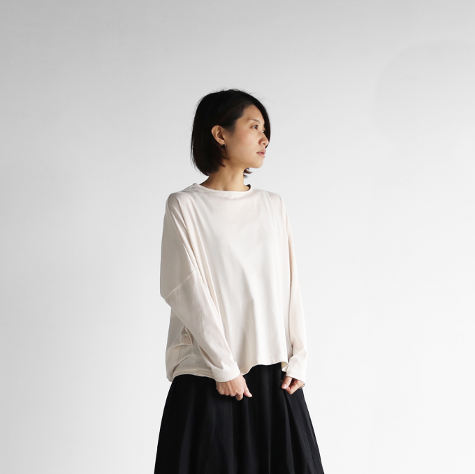 【HUIS in house】 SUVIN COTTON長袖コクーンカットソー(ivory)【レディス】