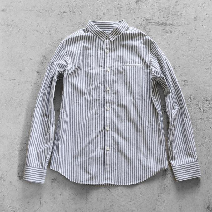 【HUIS】オーガニックコットン ストライプシャツ(グレーストライプ)【ユニセックス】