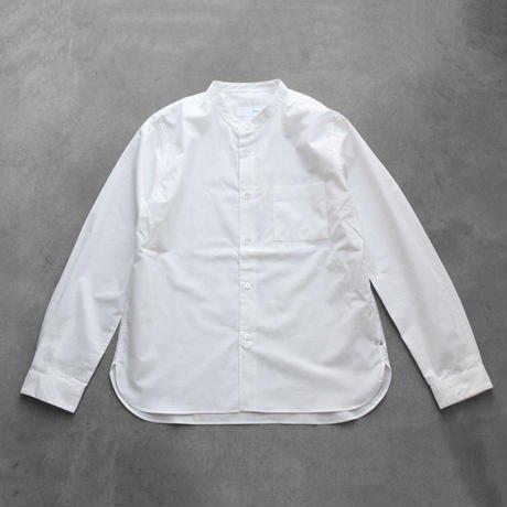 【HUIS】やわらかコットン バンドカラーシャツ(ホワイト)【ユニセックス】