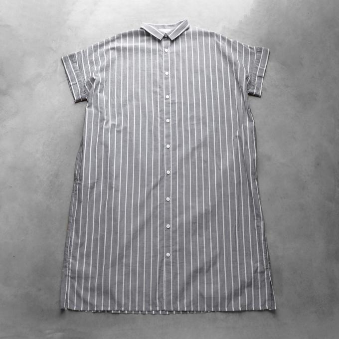 【HUIS.】014 ゆるふわコットンショートスリーブロングシャツ(グレーストライプ)【ユニセックス】