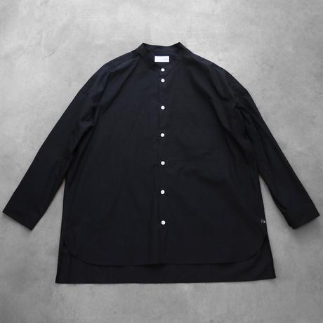 【HUIS.】015 タイプライタークロスバンドカラーオーバーシャツ(黒)【ユニセックス】