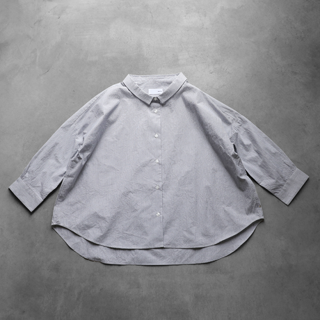 【HUIS】U108 8分袖コードレーンワイドブラウス(グレー)【レディス】