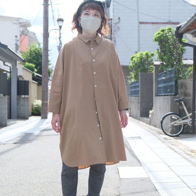 【HUIS.×ルポデミディ】RH004 やわらかコットンロングシャツ(サンドベージュ)【ユニセックス】