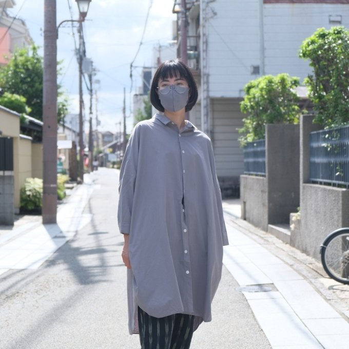 【HUIS.×ルポデミディ】RH004 やわらかコットンロングシャツ(ライトグレー)【ユニセックス】